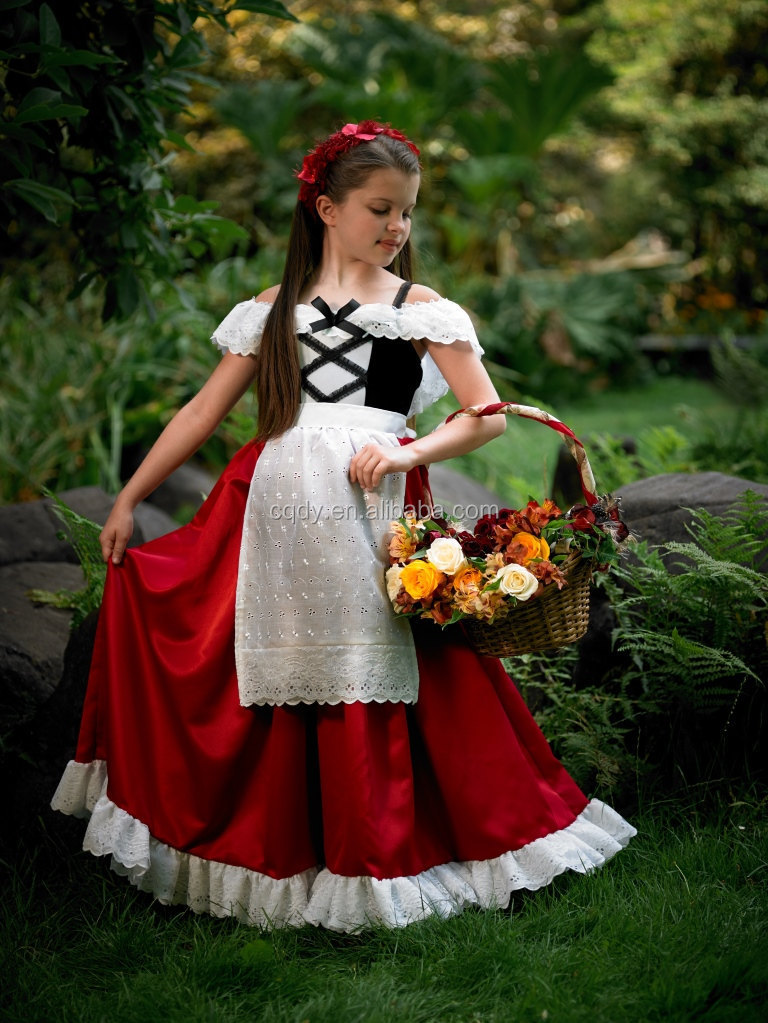 Little Red Riding Hood Costume Girls Dress Princess Court