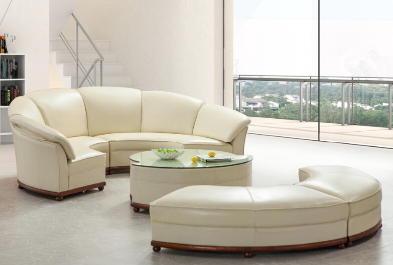 Latest Round Shape Sofa In f White Leather Assembled With Half