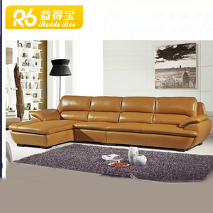 Modern orange leather l shape sofa 8913#