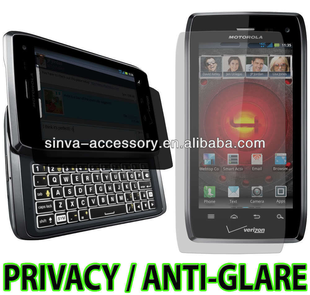 anti-spy screen protector for Motorola Droid 4 4G with manufacture