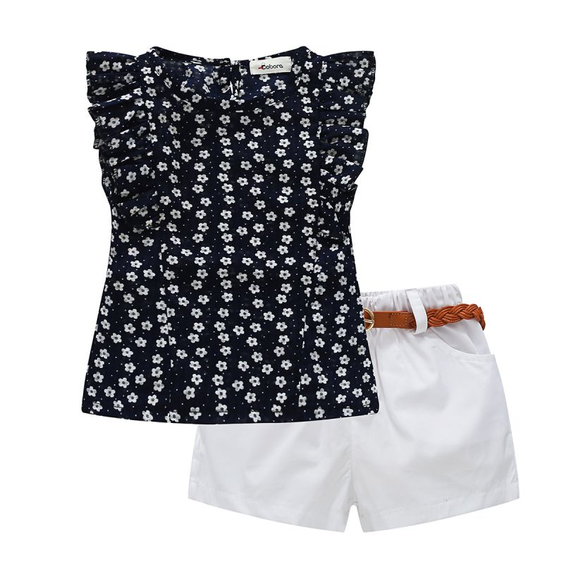 Summer Toddler Baby Kid Girl Floral Sleeveless T-Shirt + Shorts Chiffon Outfits Set With Belt Round Leader Girls Clothing Sets