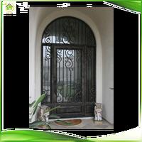 Ornamental exterior iron scroll work doors inserts