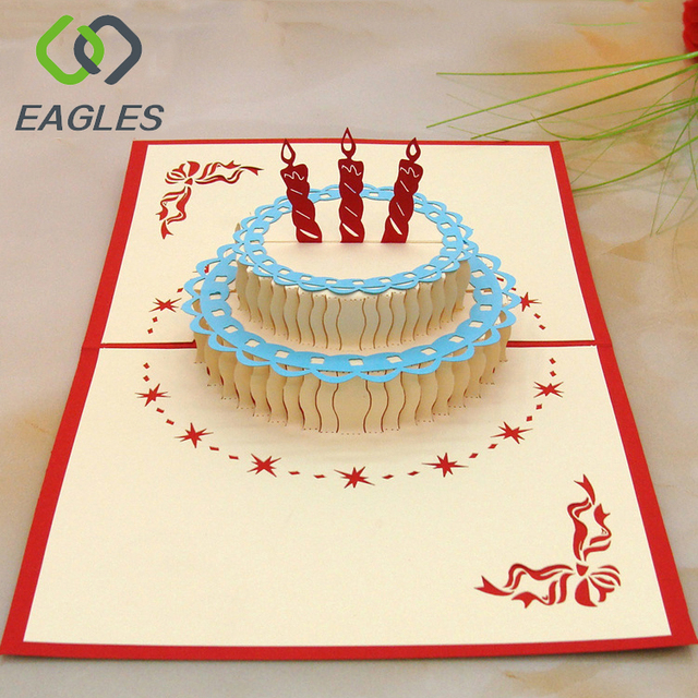 Surprising Eagles Handmade Paper Birthday Cake Card 3D Pop Up Card Buy 3D Personalised Birthday Cards Paralily Jamesorg