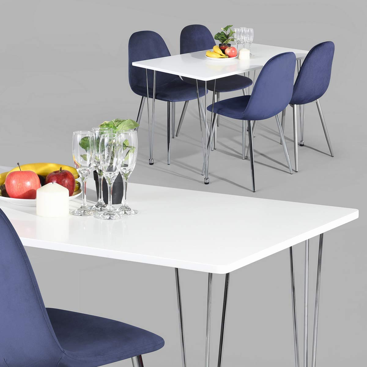 Kitchen Dining Table, Mid Century Modern Industrial Home Dining Room Table Compatible with Hairpin Legs, White Office Balcony Leisure Table