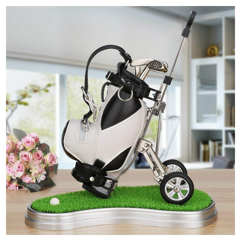 Golf Gifts Pen Holder with 3 Pens Bag Holder Golf Decorations Office Desk Gifts,Golf Souvenirs Novelty Presents, Birthday Christmas Gifts for Dad,Friend,Golf Lover,Husband
