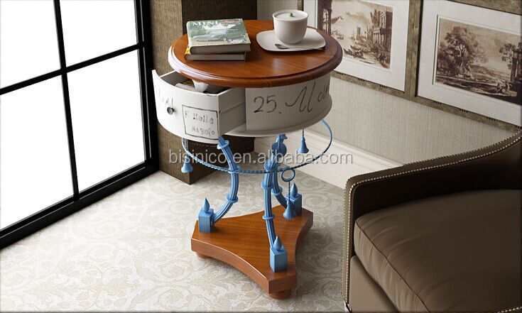 Mediterranean Style Furniture End Table, Country Style Coffee Table With  Drawer, Special Design Solid