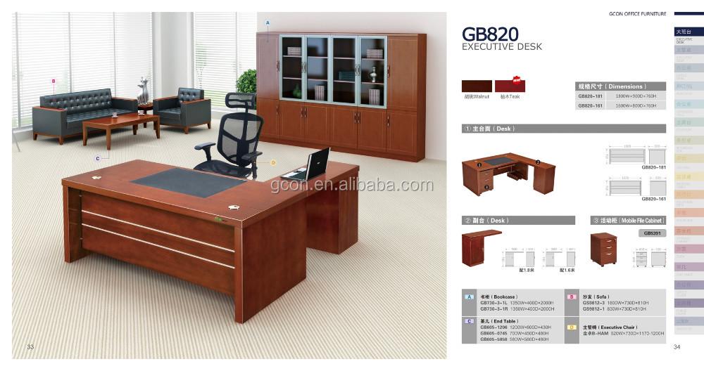 UV Top Coated Modern Manager Office Desk Standard Table Dimensions Antique Name Brand Furniture