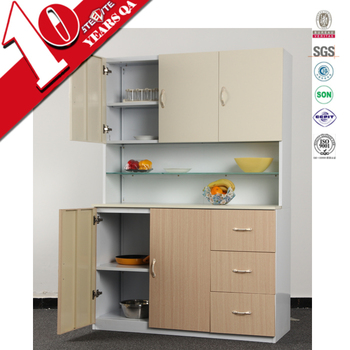 Ready Made Wall Mounted Kitchen Cupboards Bi Color Metal Material Pantry Cabinet