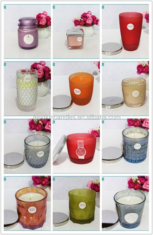 FJ067BLC clear glass containers scented candle jars