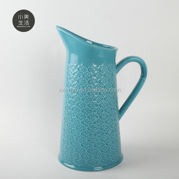 Nice fancy embossed blue galzed ceramic special design personalized tea pots for drinking