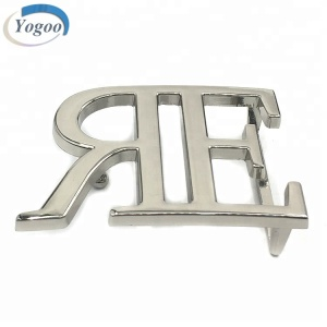 Private Silver Plating Custom Letter Logo Metal Band Name Plate Belt Buckles