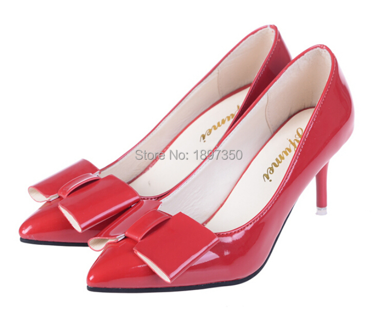 New Fashion pointed women high heel shoes with fine heel shoe 2015 autumn shallow mouth bow women shoes high heels Wedding shoes
