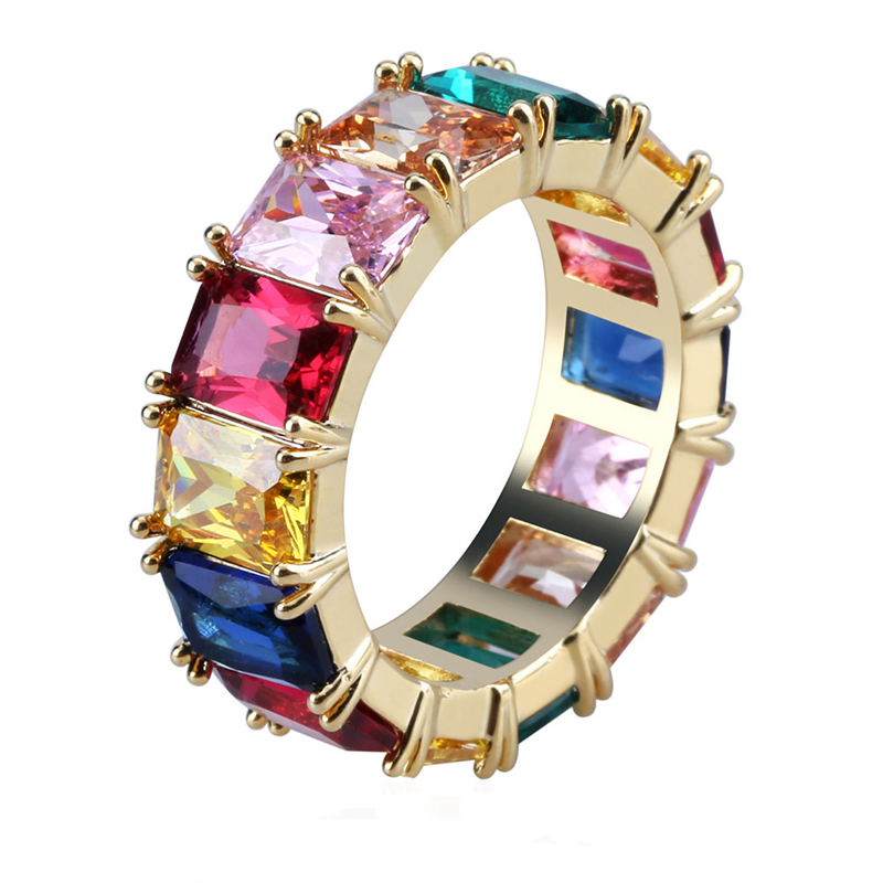 Bling Iced Out Cubic Zircon Multicolor Round <strong>Ring</strong>