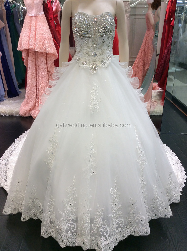 1137fb3098 Luxurious 2015 Ball Gown Sparkly Crystals Beading Low Back Appliques Lace  Wedding Dresses with Big Bow A098