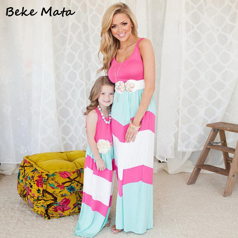 Matching Mother Daughter font b Dress b font 2016 Summer Striped Patchwork Family Matching Outfits Mother
