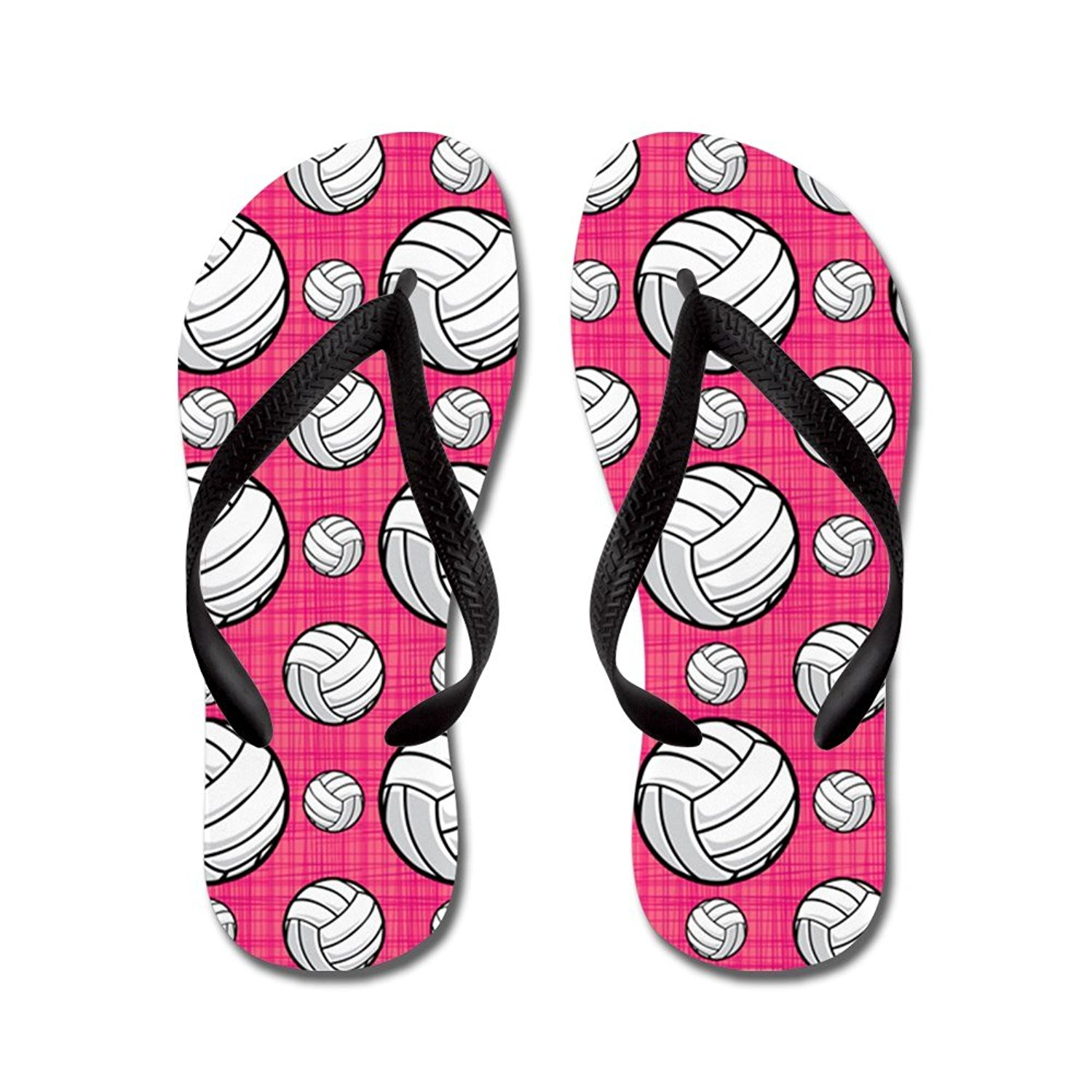 818972e9d300 Get Quotations · CafePress Bright Pink Volleyball Pattern - Flip Flops