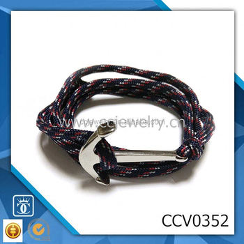 Double Heart Anchor Infinity Bracelet Fashion Red White And Blue Paracord Wrap Bradelet Leather Stainless