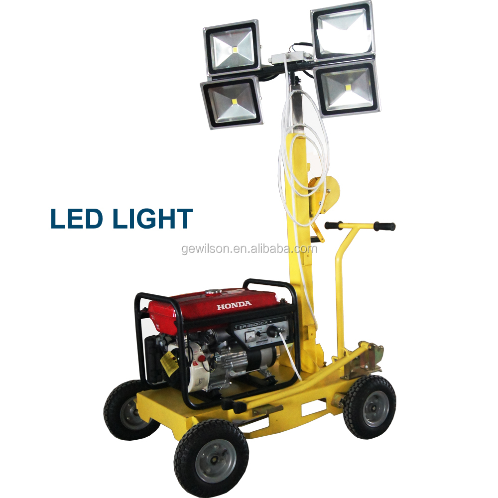 4.5m LED Lighting Vehicle Tower with manual lifting and gasoline generator