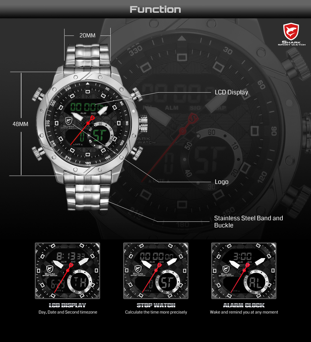 Snaggletooth SHARK Original Watch Men Sport Quartz Watch Chronograph  Wristwatch Relogio Alarm Clock For Mens Stop watches SH590 09e3fc13e7844
