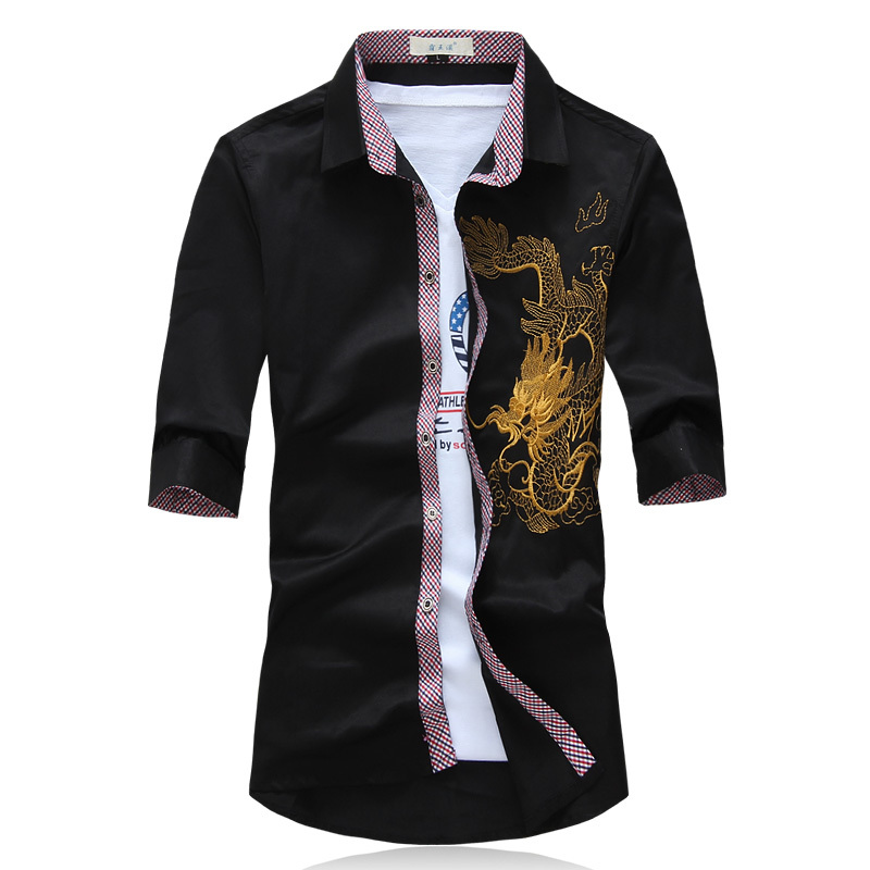 Fashion Chinese Dragon Embroidery And Panting Shirt Men Half Sleeve Summer Style Casual Shirts Men Brand Dress Shirts Big Szie