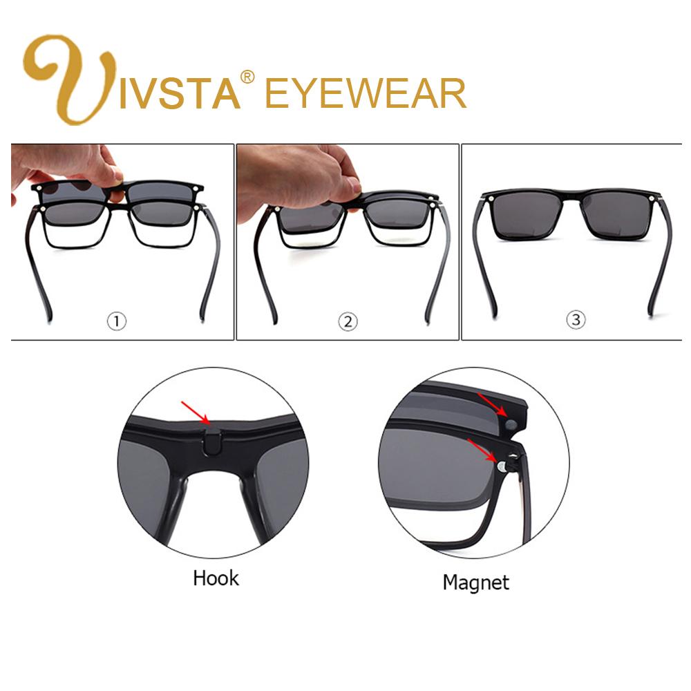 Ivsta 5 Klip Magnet Kacamata Pria Hitam Sunglasses In 1 Magnetik Wanita Flip Up Night Vision