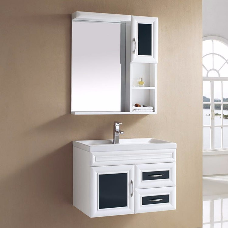 Wall hung pvc white and black bathroom wash basin cabinet