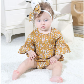 Newborn Baby Girls Flower Printed Summer Romper One-piece clothes for toddler