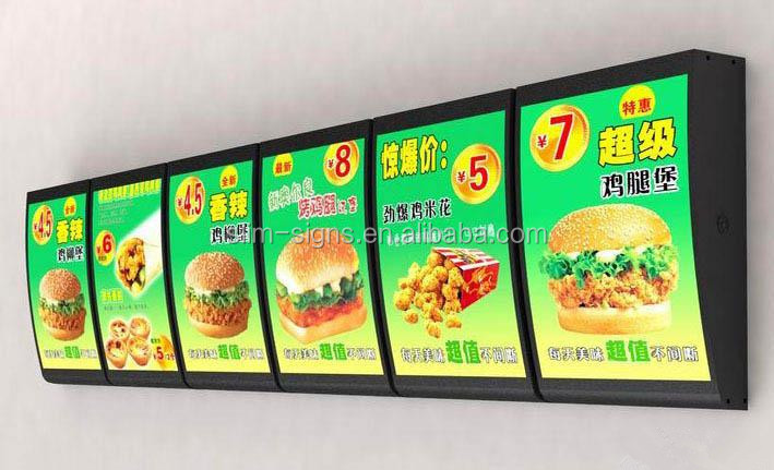 Hot Sale Fast Food Restaurant Acrylic Illuminated Led Menu Board ...