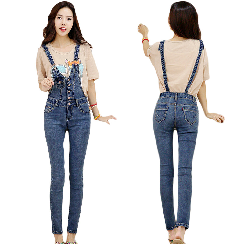4aa84f524761 Get Quotations · 2015 single-breasted fashion personality Slim thin stretch denim  overalls jumpsuits