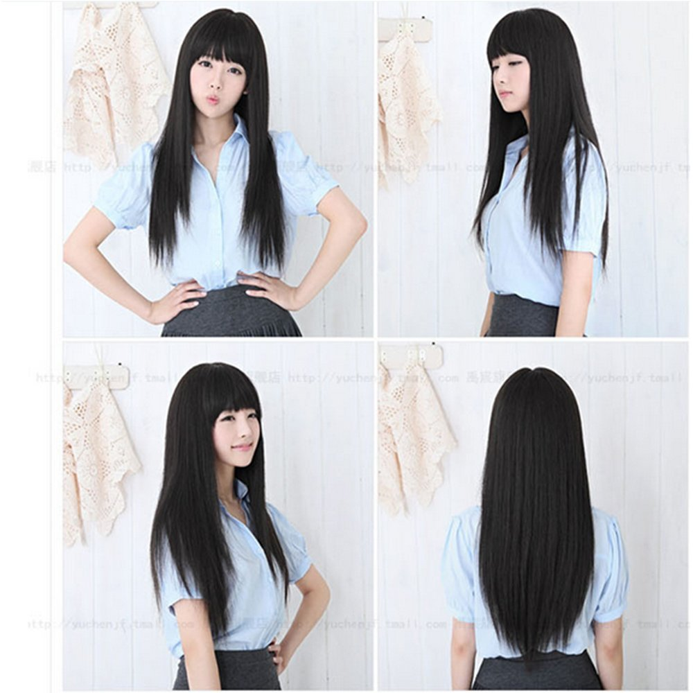 """Pyracin(TM) 23"""" (58cm) Women's Black/Brown/Blonde/Red/ Long Straight Neat Bangs Full Wigs Daily Costume Dress Synthetic Wig"""