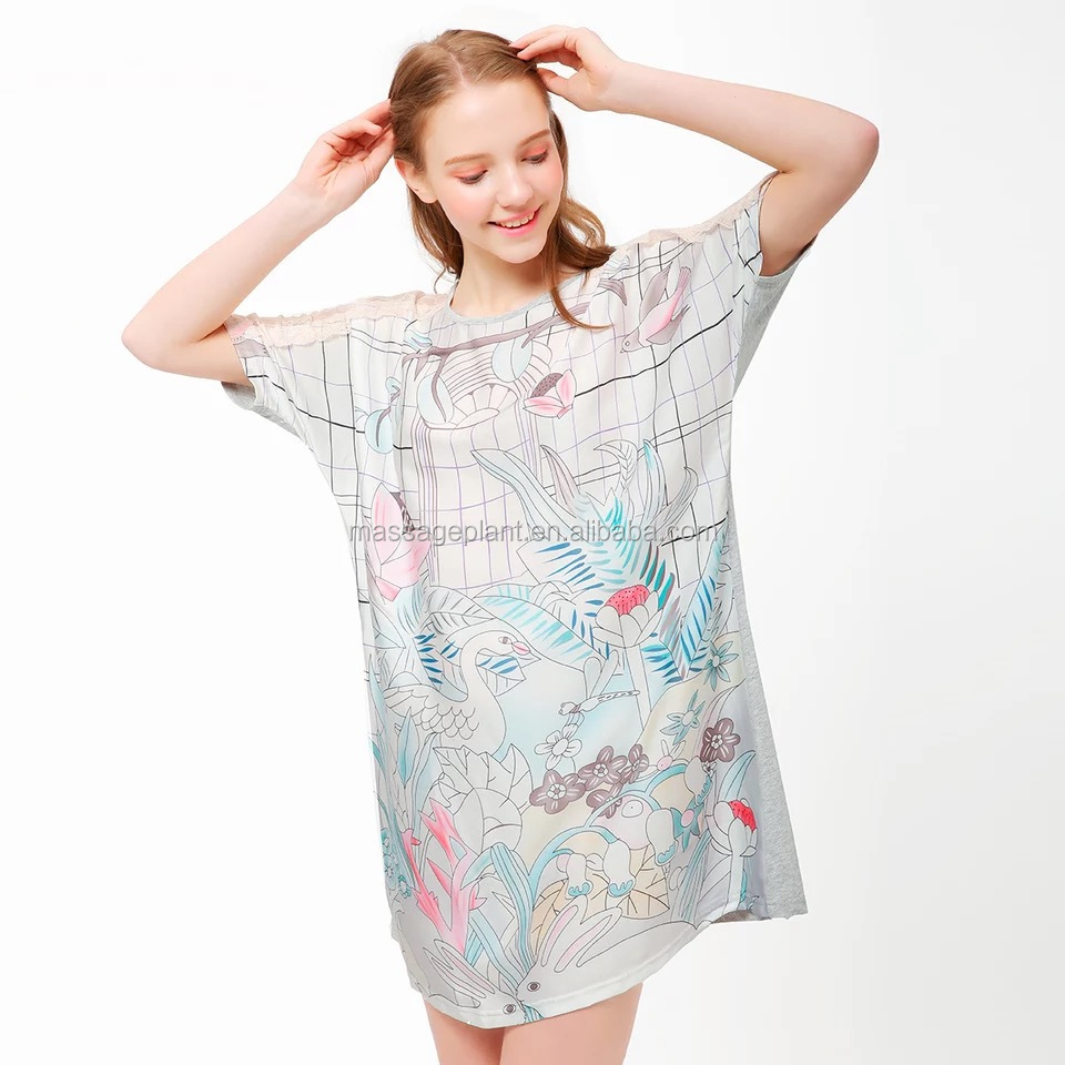 Customize Ladies Luxury Silk Robe Short Sleeve Lace Dressing Gown ...