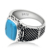 Men Ring 925 Sterling Silver Sky Blue Stone Geometric Vintage Punk Style Finger Ring for Man Fashion Jewelry Accessory