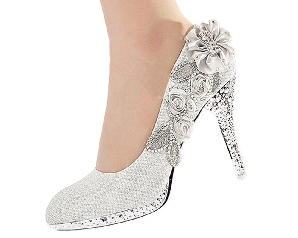 83a5091c8bb getmorebeauty Women s Silver Lace Flower Pearls Closed Toes Wedding Shoes
