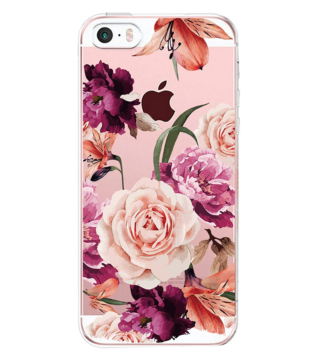 Case for iPhone SE 5 S, Thin Case Cover TPU Rubber Gel, Transparent Clear Back Case, Soft Silicone-flower pattern