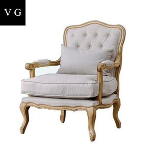 Grey wooden comfortable French living room accent arm chair