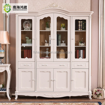 2 3 4 Door Tempered Gl European Style Display Cabinet White Wooden
