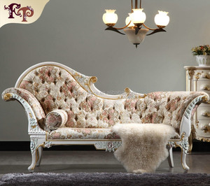 French style furniture- baroque style chaise lounge Best selling product good quality leather lounge