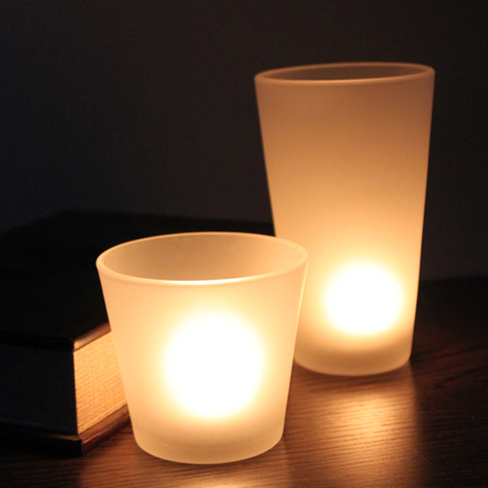 Factory price white frosted glass candleholder