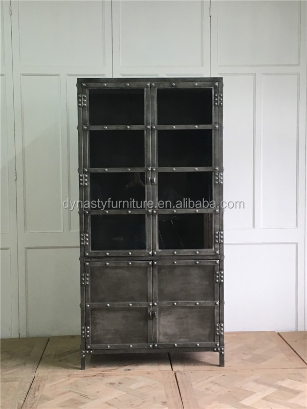 decorative industrial vintage style metal display <strong>cabinet</strong>