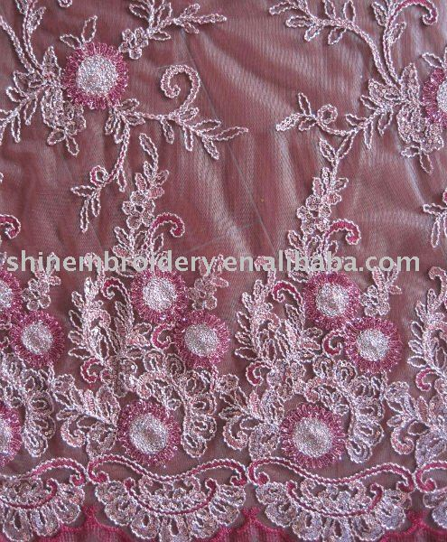 FANCY TWO KIND OF TAPE CORD EMBROIDERY FABRIC WITH SEQUENCE FOR DRESSES
