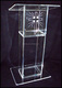 Clear Simple Design Acrylic Podium for Church with Cross Shape on Clear Spine