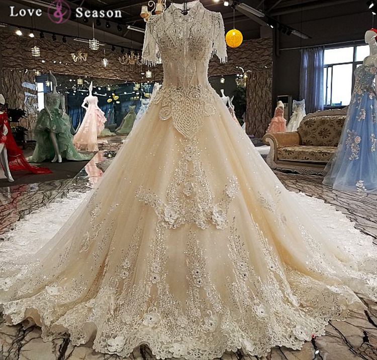Vintage Victorian Wedding Dresses: LS00221 Hoge Hals Korte Mouw Elegante Vintage Stijl