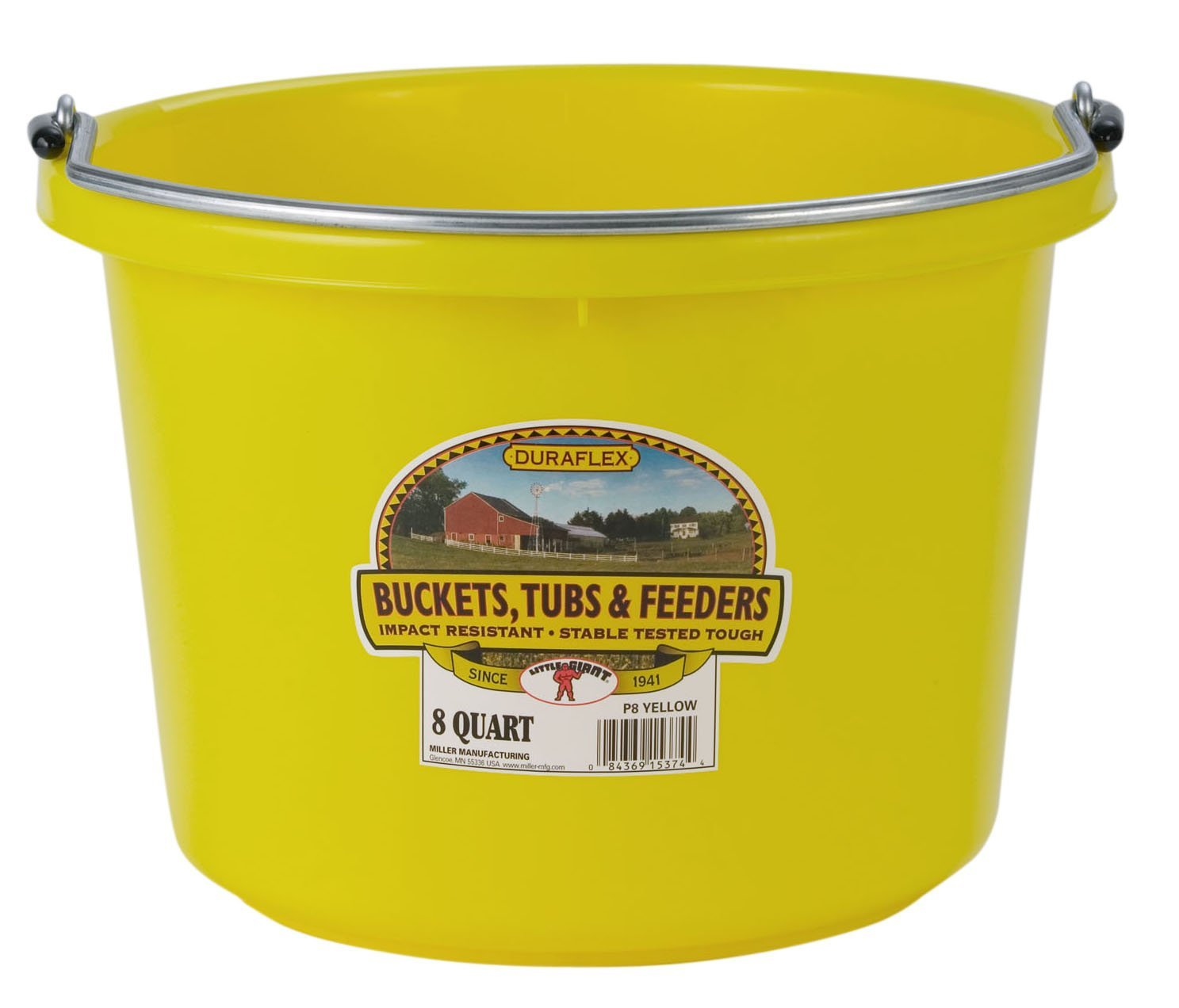 Miller Manufacturing P8YELLOW Plastic Round Back Bucket For Horses 8 Quart Yellow