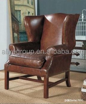 A7031  Modern Simple Sofa Set Design Genuine Leather Sofa Wood Chair