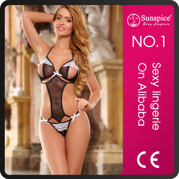 2015 hot sale Sunspice sexy open <strong>cup</strong> floral lace halter teddy baby girls <strong>tube</strong> lace sexy babydoll lingerie