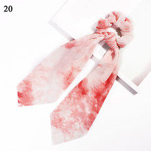Женские Длинные резинки с цветочным принтом, резинки с бантом для волос, шарф, эластичные Ленточные резинки для волос, аксессуары для волос ...(Китай)