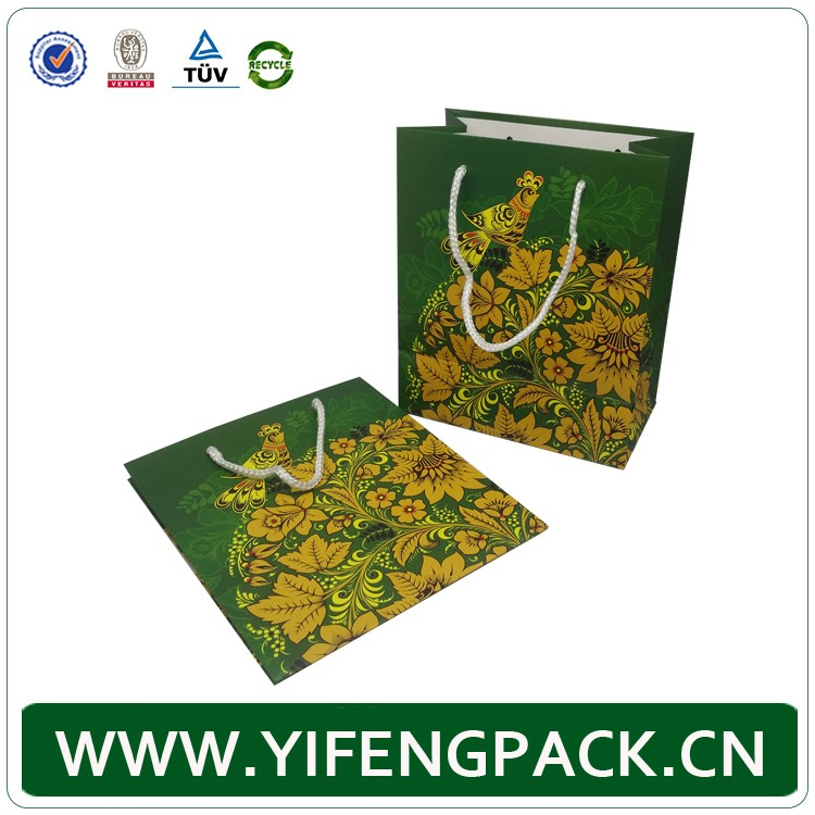 High end fancy gift paper custom logo shopping bag with rope handle