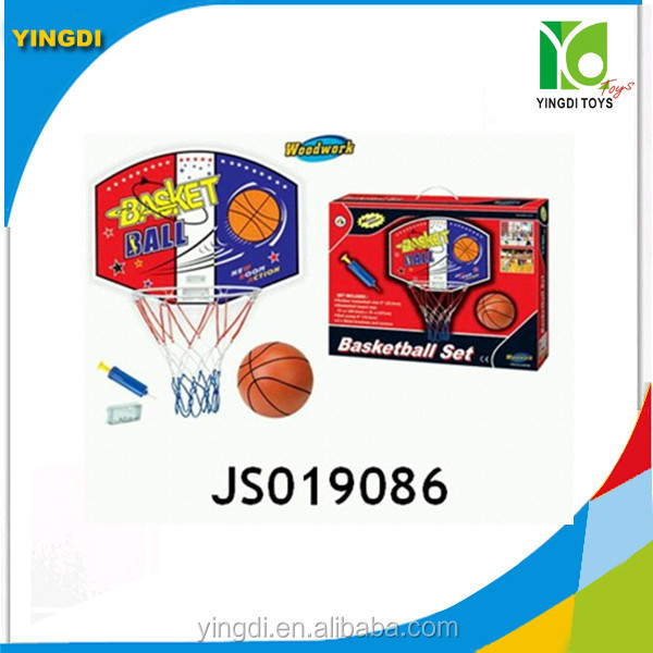 "wooden basketball playset w/20cm deflated pvc ball&6"" inflator basketball board,wooden sport game"