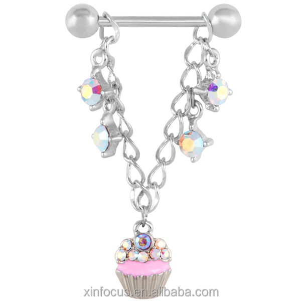 Wholesale Magnetic Dangle Charming Unique Sexy Cool Fake Nipple Ring Body Piercing Jewelry