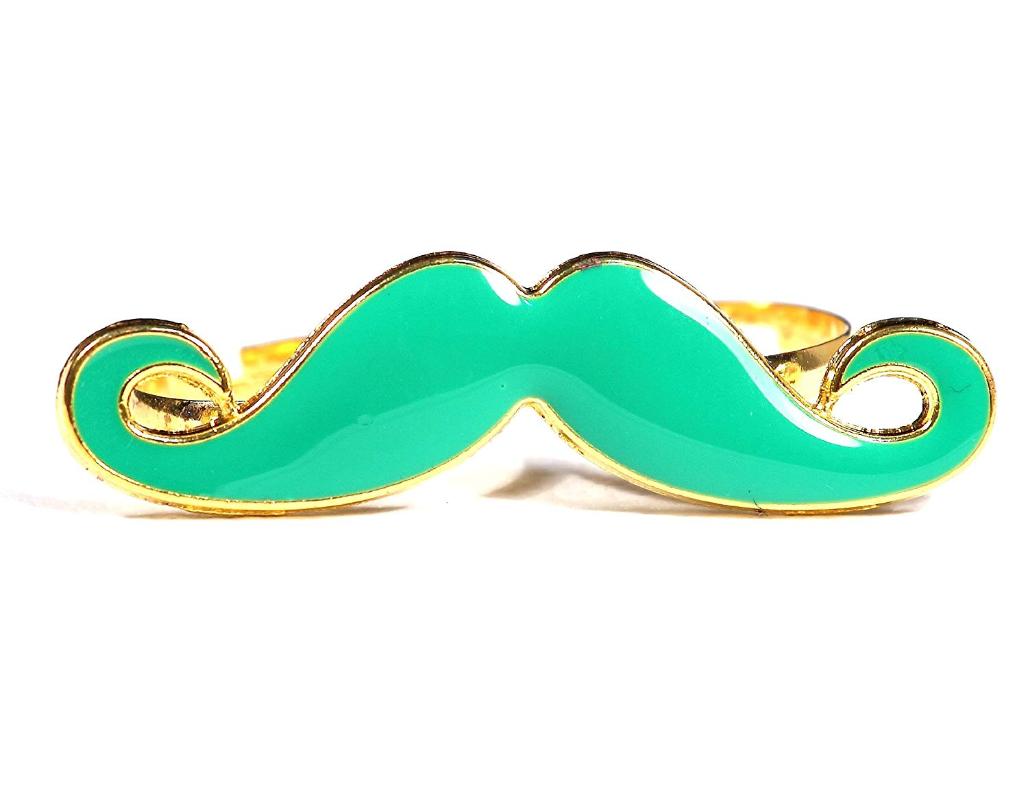 Magic Metal Green Handlebar Mustache Double Ring Adjustable Knuckle Band RA00 Vintage Indie Hipster Fashion Jewelry
